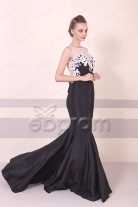 Black Mermaid Backless Long Prom Dresses