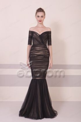 Black Mermaid Off the Shoulder Prom Dress with Sleeves