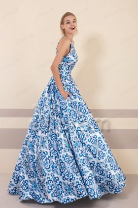 Blue Floral Print Halter Prom Dresses with Pocket