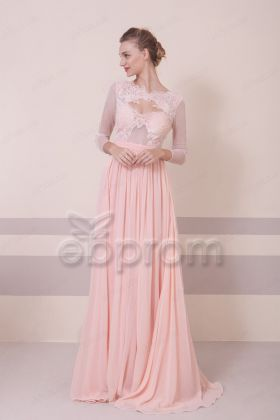 Blush Lace Illusion Prom Dresses Long Sleeves