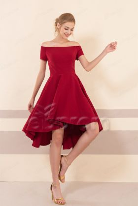 Burgundy High Low Rustic Bridesmaid Dresses Short Sleeves