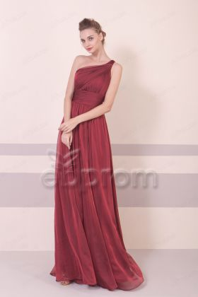 Burgundy One Shoulder Bridesmaid Dresses Long