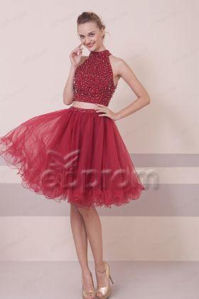 Burgundy Short Beaded Sparkly Prom Dresses Short