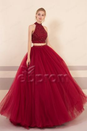 Burgundy Sparkly Two Piece Ball Gown Prom Dresses Long