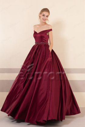 Burgundy Vintage Princess Prom Dresses with pockets