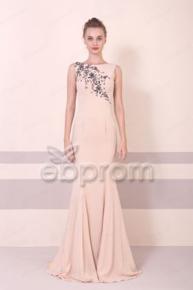 Champagne Mermaid Long Formal Evening Dresses