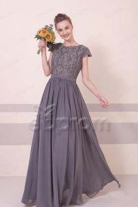 Charcoal Modest Bridesmaid Dresses Long with Cap Sleeves