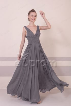 Charcoal V Neck Bridesmaid Dress Long