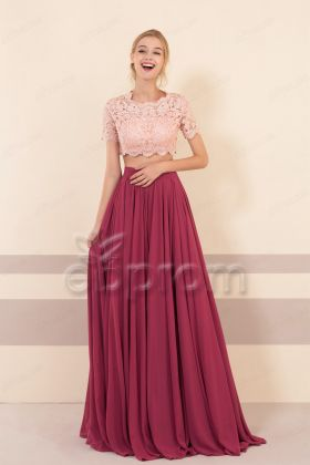 Chianti Rose Bridesmaid Dresses Short Sleeves