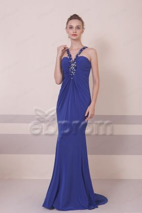 Coblat Blue Beaded Backless Mermaid Prom Dresses