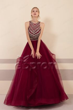 Dark Burgundy Crystals Two Piece Prom Dresses Ball Gown