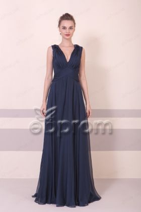 Dark Navy Blue Elegant Formal Dresses Long