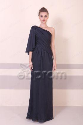 Dark Navy Elegant Slim Satin Formal Dresses Long
