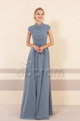 Dusty Blue Modest Bridesmaid Dresses Jewel Neckline