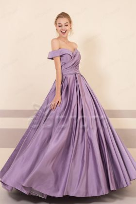 Dusty Purple Off the Shoulder Vintage Prom Dresses with Pockets
