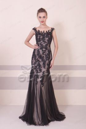 Elegant Black Lace Mermaid Prom Dresses Long Evening Dress