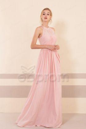 Halter Blush Bridesmaid Dresses