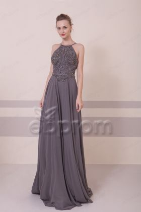 Halter Crystal Sparkly Backless Prom Dresses Charcoal