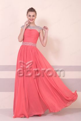 Beaded Sparkle Coral Modest Prom Dresses Long