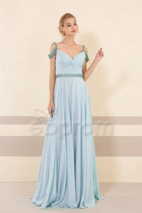 Ice Blue Beaded Off the Shoulder Prom Dresses Long