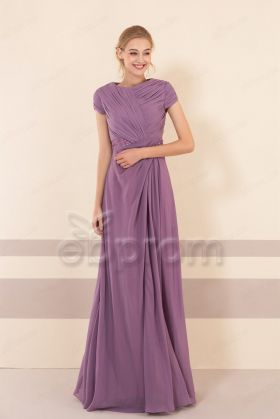 Modest Dusty Purple Bridesmaid Dresses with Sleeves