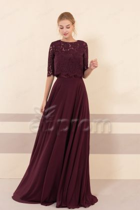 Modest Burgundy Bridesmaid Dresses with Elbow Sleeves Jacket