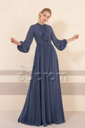 Cheap Modest Slate Blue Bridesmaid Dresses Long Sleeves