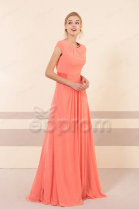Modest Light Coral Beaded Bridesmaid Dresses Cap Sleeves