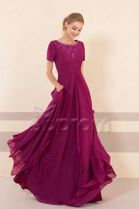 Beaded Modest Magenta Bridesmaid Dress with Sleeves
