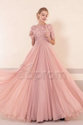 Lace Modest Dusty Rose Bridesmaid Dresses with Elbow Sleeves