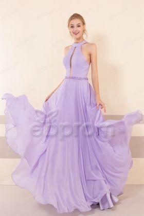 Lilac Halter Backless Prom Dresses