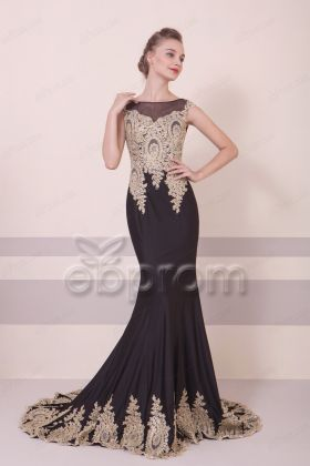 Mermaid Black Golden Prom Dresses Long