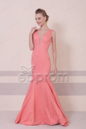 Mermaid Coral Backless Prom Dresses Long
