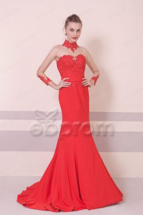 Mermaid Red Backless Prom Dress Long Sleeves