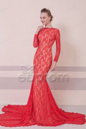 Mermaid Red Lace Prom Dresses Long Sleeves Backless
