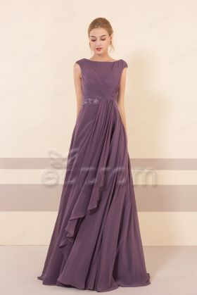 Modest Dusty Purple Brdiesmaid Dresses Long