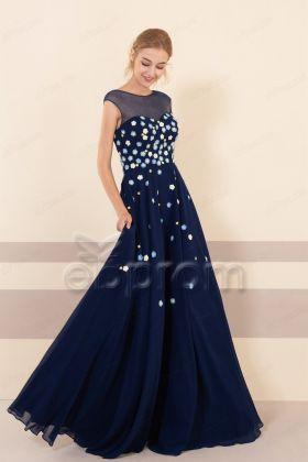 Modest Navy Blue Floral Bridesmaid Dresses Long