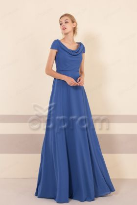 Modest Royal Blue Cowl Neck Bridesmaid Dresses Cap Sleeves