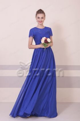 Modest Royal Blue Maternity Bridesmaid Dresses Empire Waist