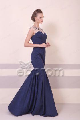 Navy Blue Beaded Mermaid Formal Dresses Long