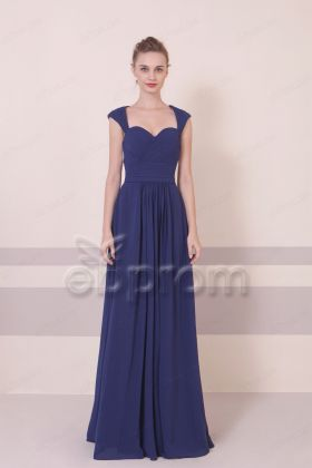 Navy Blue Long Bridesmaid Dresses Open Back