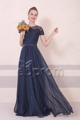Navy Blue Modest Bridesmaidd Dress with Short Sleeves