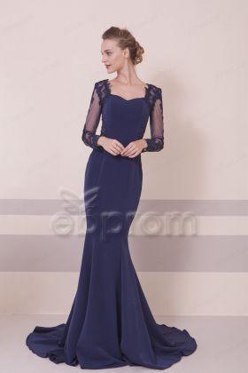 Navy Blue Modest Mermaid Prom Dress Long Sleeves