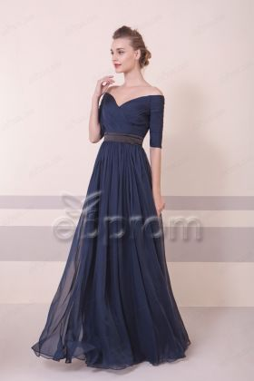 Off the Shoulder Elegant Navy Blue Bridesmaid Dresses with Sleeves