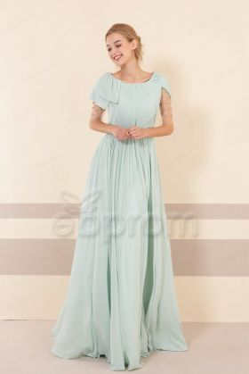 Pastel Green Modest Bridesmaid Dresses with Sleeves