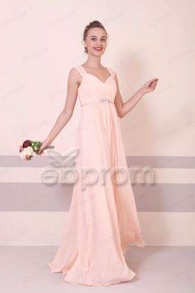 Peach Maternity Pregnant Bridesmaid Dresses Long