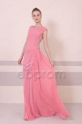 Pink Modest Beaded Bridesmaid Dresses