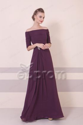 Plum Off the Shoulder Elegant Formal Dresses Long