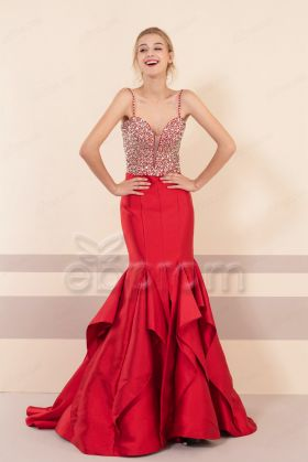 Red Mermaid Sparkly Beaded Long Prom Dresses Spaghetti Straps