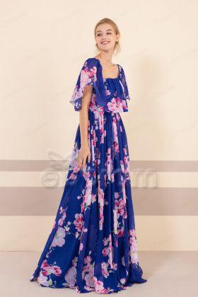 Royal Blue Floral Convertible Bridesmaid Dresses with Pockets